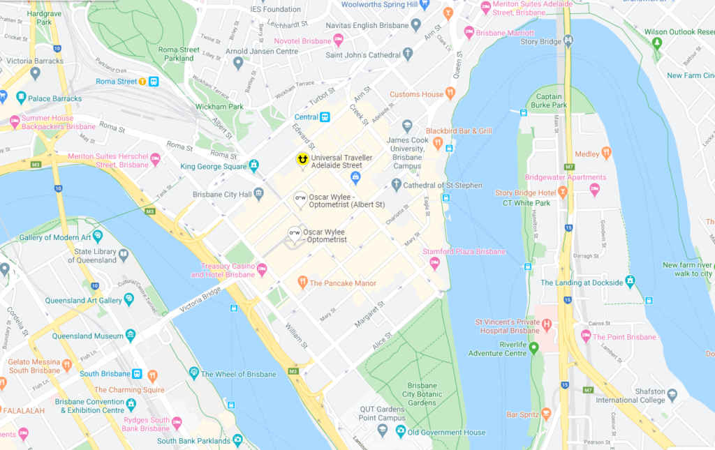 Using location data, a map of Brisbane CBD. Credit: Google Maps.
