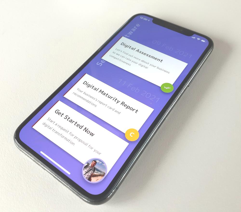 Digital Transformation App on an iPhone
